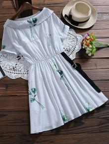 Floral Striped Dress With Belt - Light Blue L