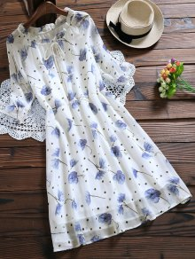 Tie Neck Floral Elastic Waist Chiffon Dress - White