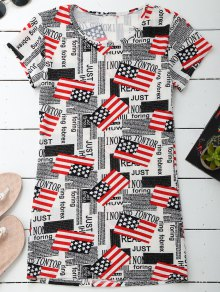 Graphic Patriotic American Flag T-Shirt Dress