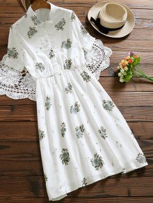 Floral Buttoned Tea Length Shirt Dress - White S