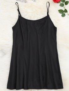Satin Side Slit Cami Dress - Black S