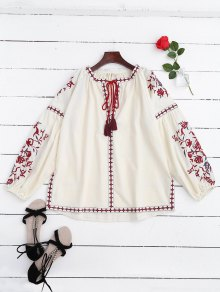 Embroidered Tie Neck Side Slit Blouse