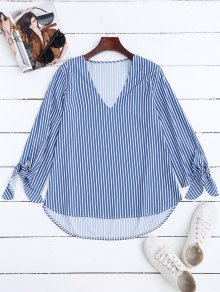High Low V Neck Striped Blouse