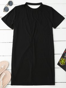 Backless T-Shirt Dress - Black M