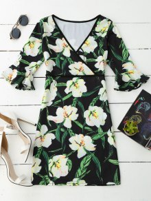 V Neck Floral Flare Sleeve Dress