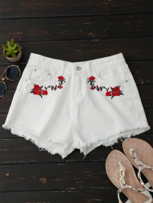 Frayed Floral Embroidered Cutoffs