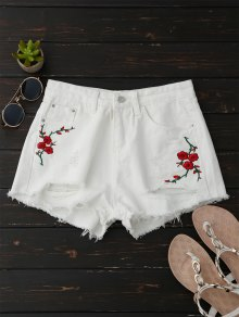 Bordados Shorts De Denim Calientes Ripped - Blanco