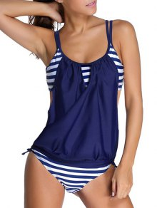 Striped Spaghetti Strap Blouson Tankini Bathing Suits - Deep Blue M