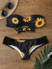 Sunflower Print Push Up Bandeau Bikini Bathing Suit - Black M