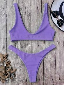 Traje De Bikini Con Escote En U Con Tiro Alto - Púrpura L