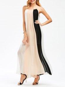Color Block Flowing Maxi Slip Dress - M