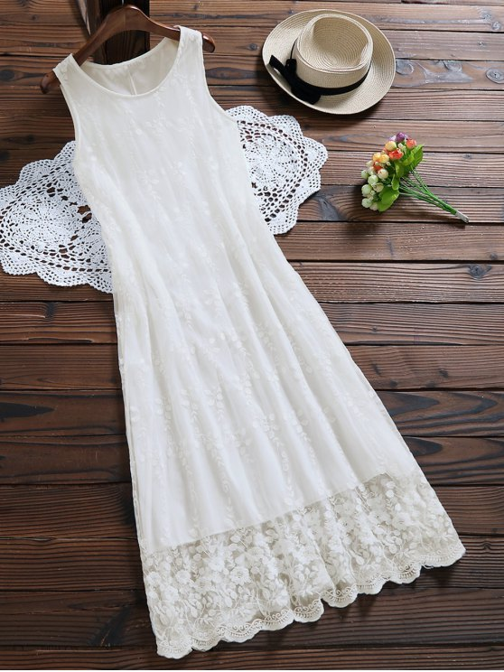 trendy Sleeveless Tulle Lace Maxi Dress - WHITE XL