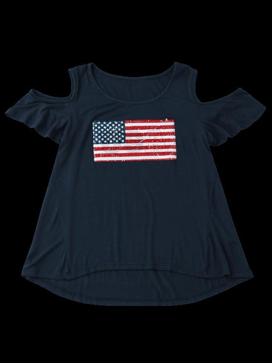 American Flag Sequins Cold Shoulder T-Shirt - PURPLISH BLUE M Mobile