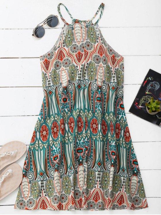 Vestido de cuello alto con túnica impresa - Colormix M