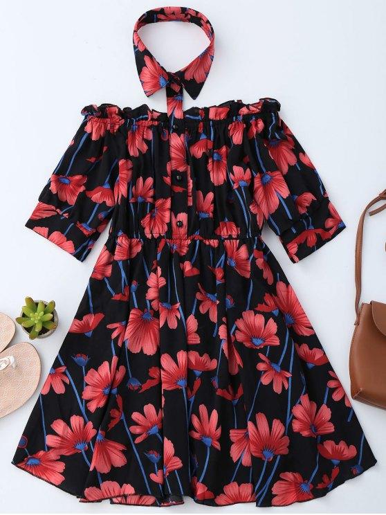 Vestido Floral con Hombros al Aire con Cuello de Camisa - Negro S