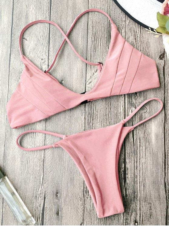 fancy Padded Cross Back Thong Bikini Set - PINK S