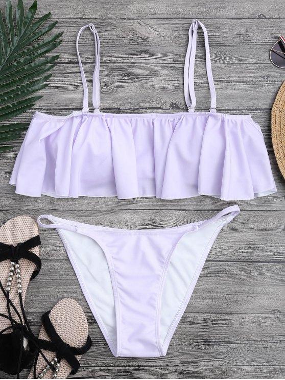 unique Flutter Off The Shoulder Bikini Set - PURPLE L
