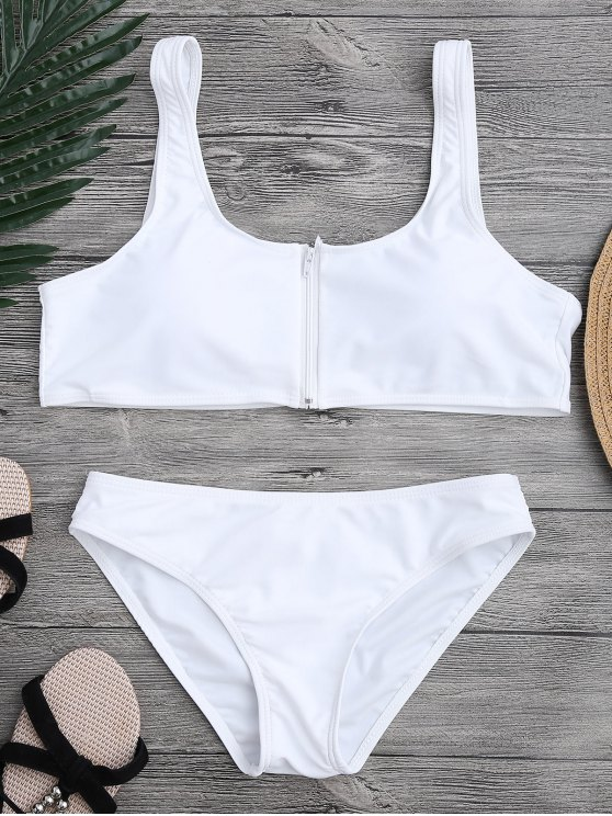 trendy Zip Front Scoop Bikini Set - WHITE S