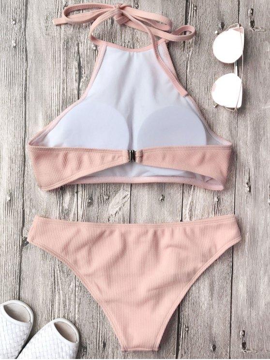 Ribbed Textured High Neck Bikini Set - PINK S Mobile