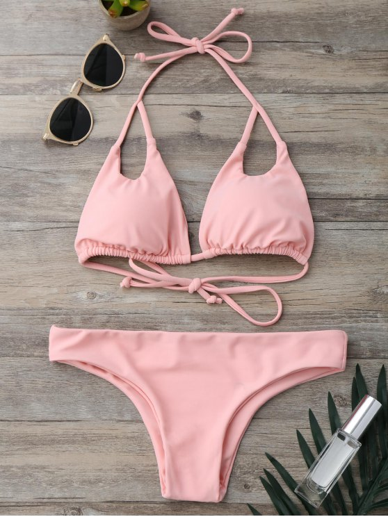 chic Cut Out Padded Halter Thong Bikini - PINK S