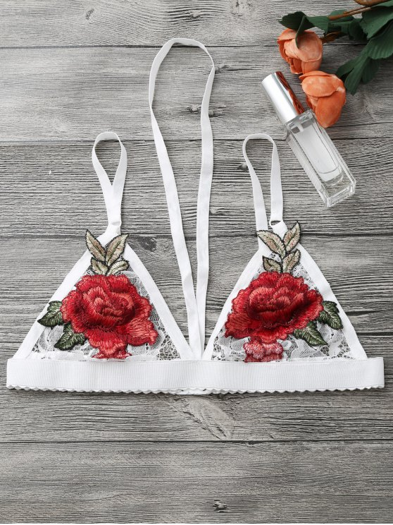 Sujetador floral de la ropa interior del arnés del applique - Blanco M