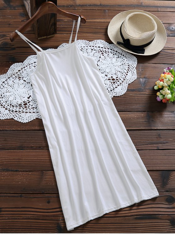 Long Sleeve Floral Tulle Dress With Tank Top - WHITE L Mobile