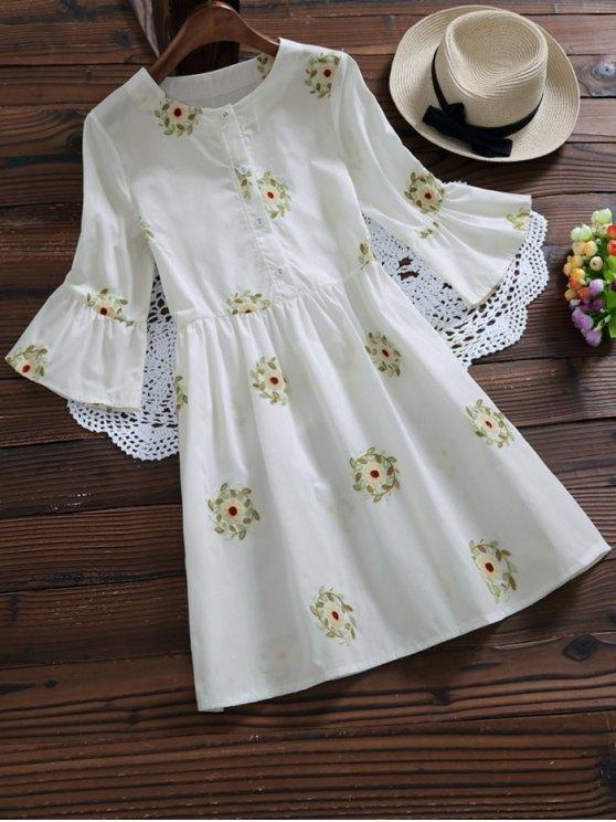 Floral Embroidered Flare Sleeve Dress - WHITE M Mobile