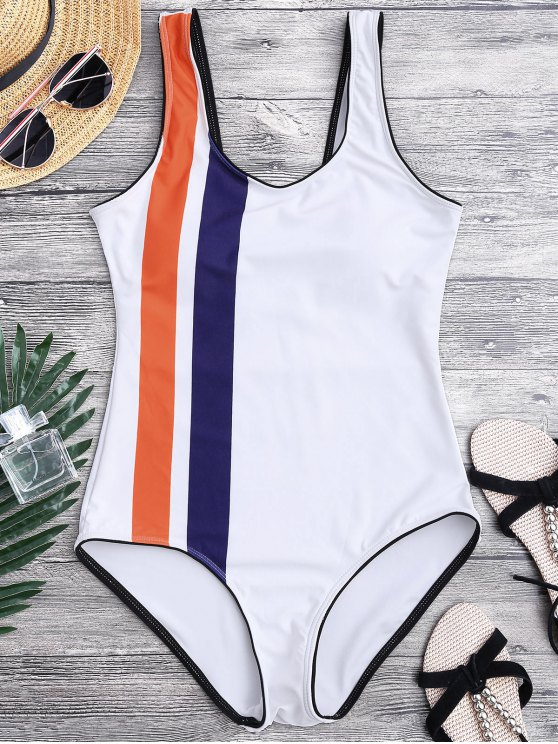 unique Striped Contrasting Piped One Piece Swimsuit - WHITE M