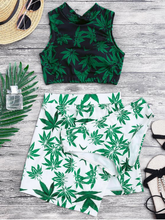 lady Weed Print Swimsuit and Cover Up Skirt - GREEN XL
