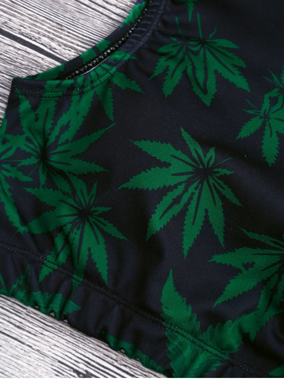 Weed Print Swimsuit and Cover Up Skirt - GREEN XL Mobile