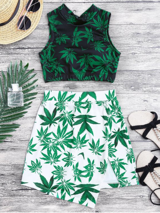 Weed Print Swimsuit and Cover Up Skirt - GREEN M Mobile