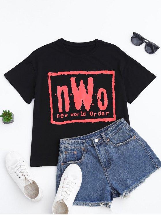 shops Short Sleeve Letter T-Shirt - BLACK M