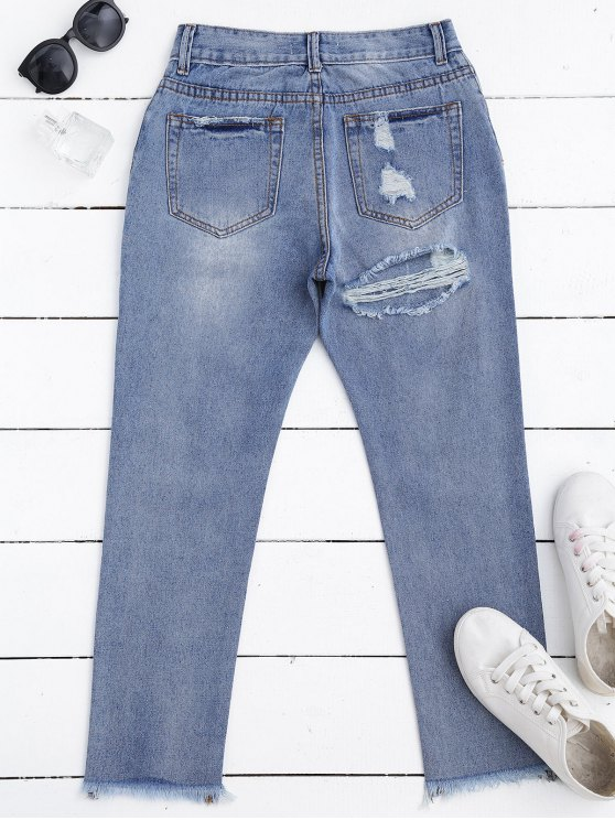 Zip Fly Frayed Hem Ripped Jeans - DENIM BLUE M Mobile