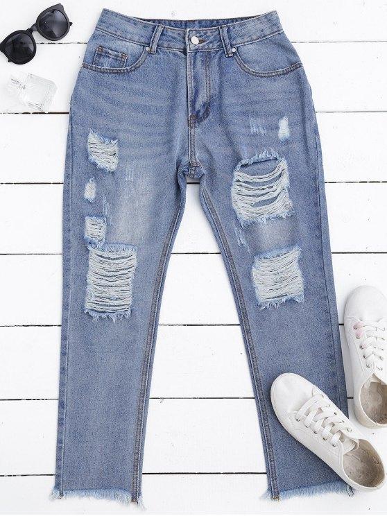 sale Zip Fly Frayed Hem Ripped Jeans - DENIM BLUE S