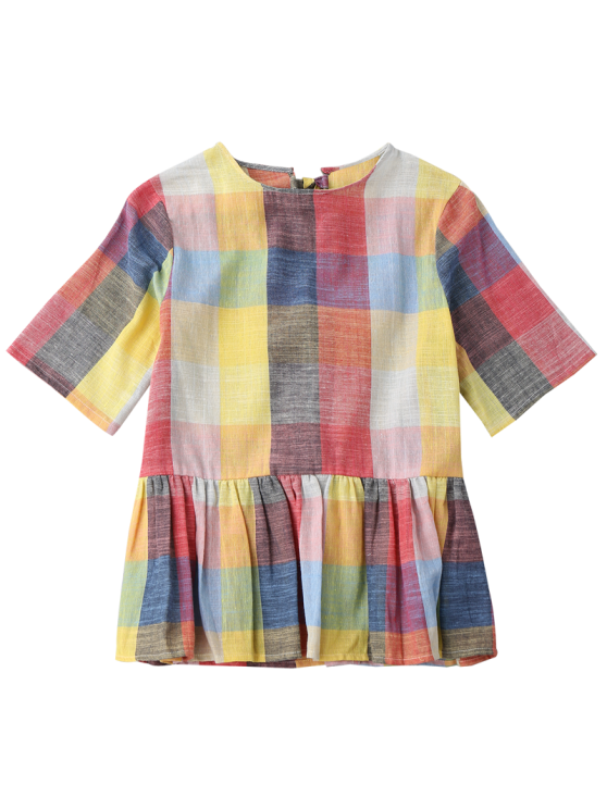 Ruffles Bowknot Checked Top - CHECKED S Mobile