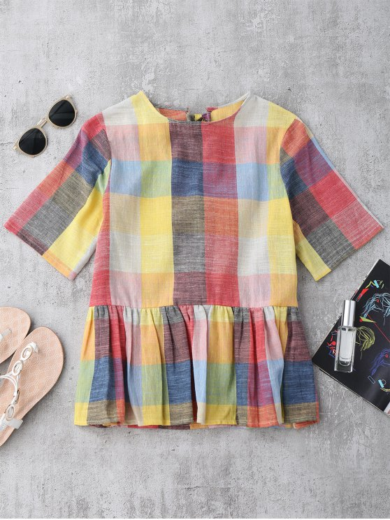 outfit Ruffles Bowknot Checked Top - CHECKED S