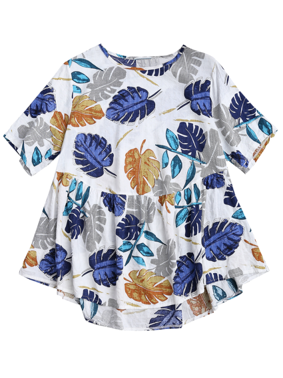 Leaf Print Skirted Holiday Top - COLORMIX M Mobile