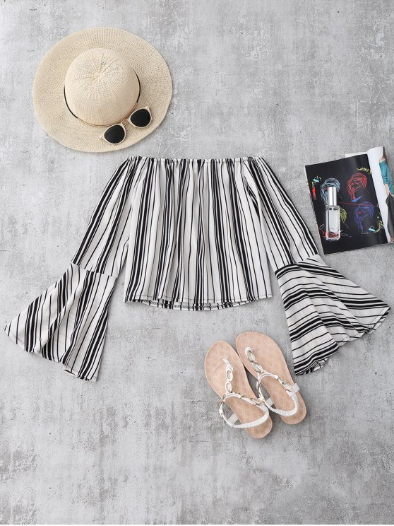 Stripes Flare Sleeve Off The Shoulder Blouse - WHITE S Mobile