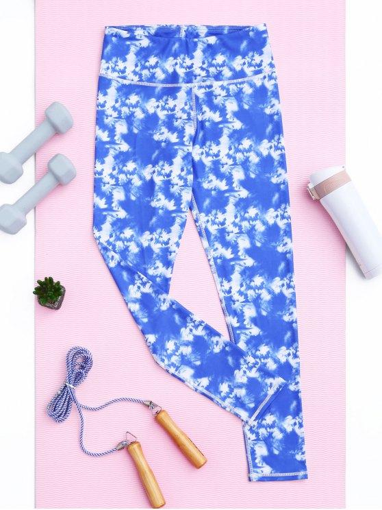 Leggings deportivos ligeramente teñidos de tejer - Cielo Azul L