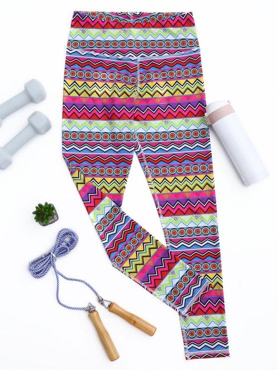Leggings deportivos flacos de impresión tribal - Colormix L