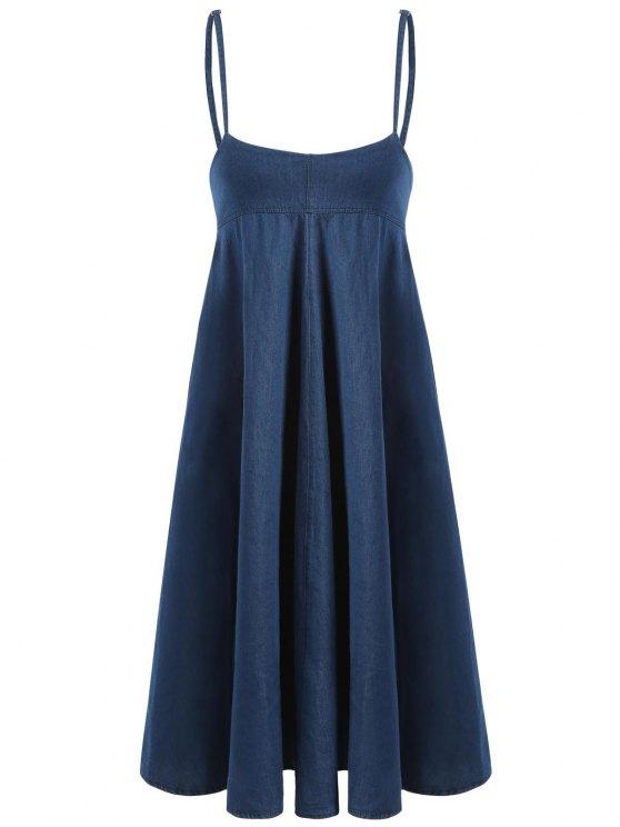 affordable Casual Denim Suspender Dress - DENIM BLUE L