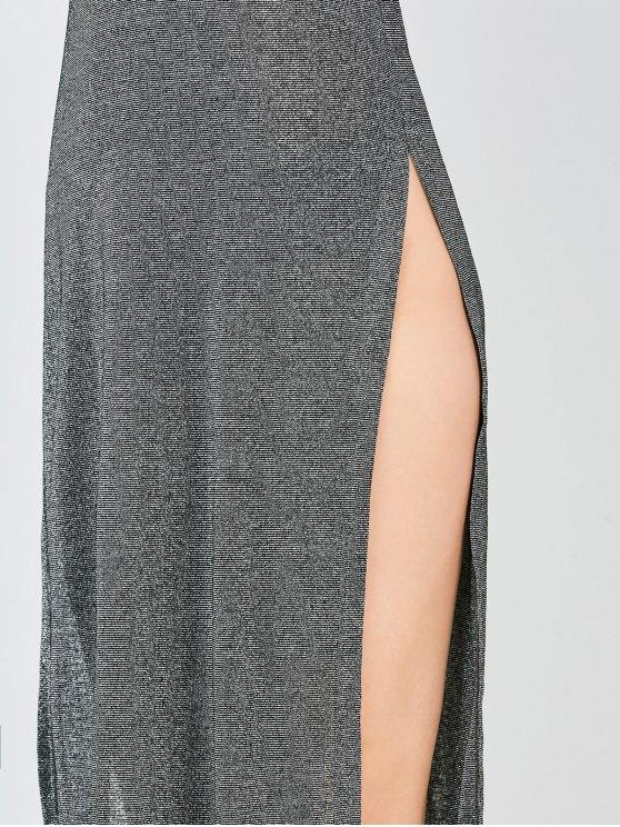 Sleeveless High Slit Club Dress - FROST L Mobile