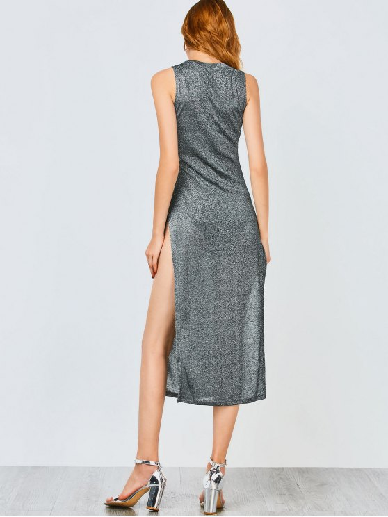 Sleeveless High Slit Club Dress - FROST M Mobile