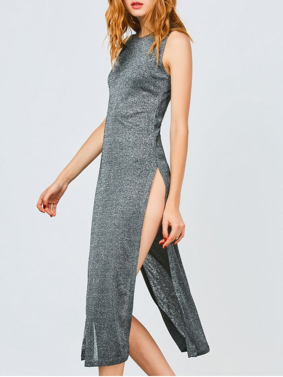 shops Sleeveless High Slit Club Dress - FROST S