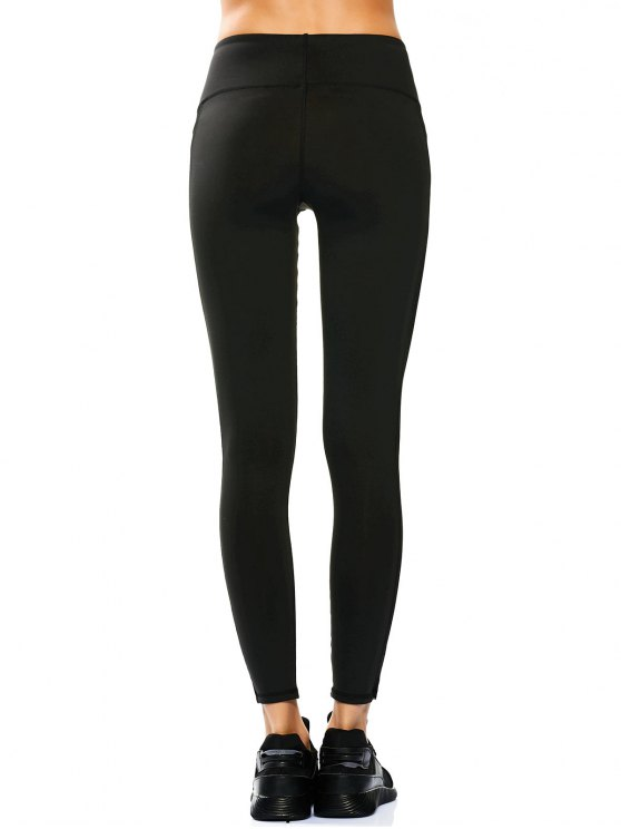 Skinny Mesh Panel Sporty Leggings - BLACK S Mobile