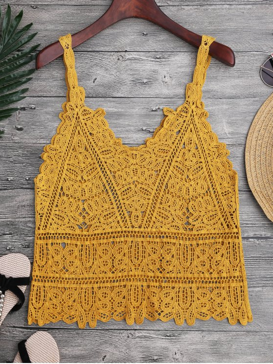 chic Hollow Out Crochet Cami Cover Up - GINGER ONE SIZE