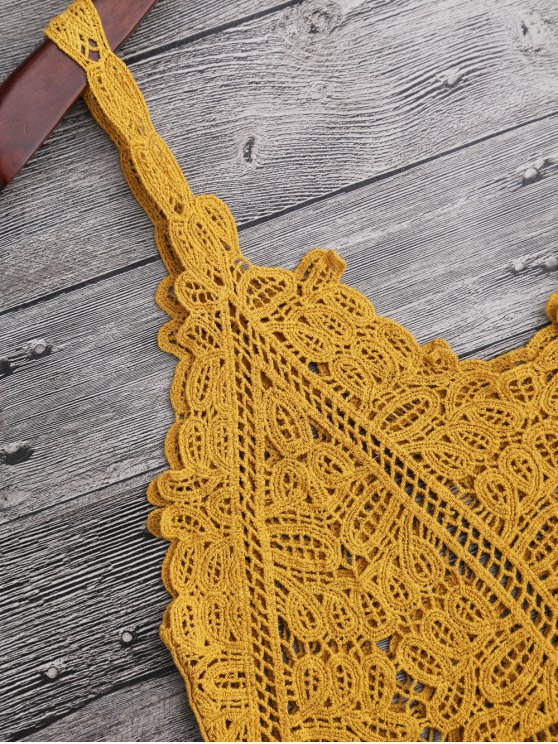 Hollow Out Crochet Cami Cover Up - GINGER ONE SIZE Mobile