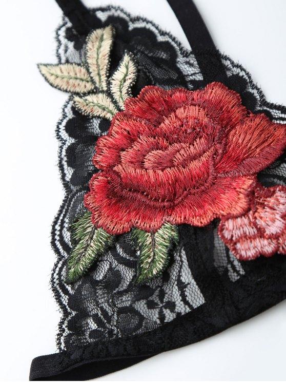 Plunge Neck Applique Bandage Lace Bra - BLACK S Mobile