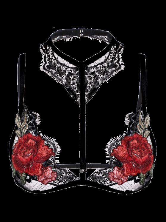 Lace Applique Choker Bra - BLACK S Mobile
