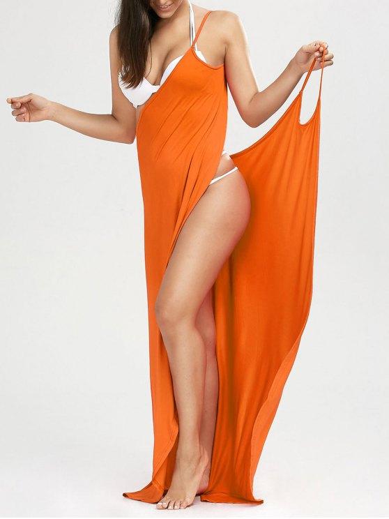 شاطئ ماكسي التفاف زلة اللباس - أحمر برتقالي XL